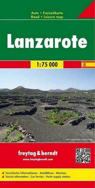 Lanzarote, f&b mapa de carreteras y senderos