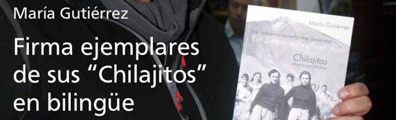 "María Gutiérrez signiert ""Chilajitos"" in der Buchhandlung Mundo del Mapa"