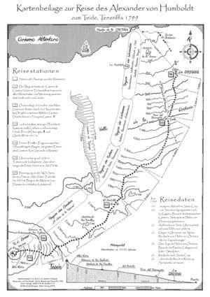Humboldt Reiseroute zum Teide, Kartenbeilage zum Buch