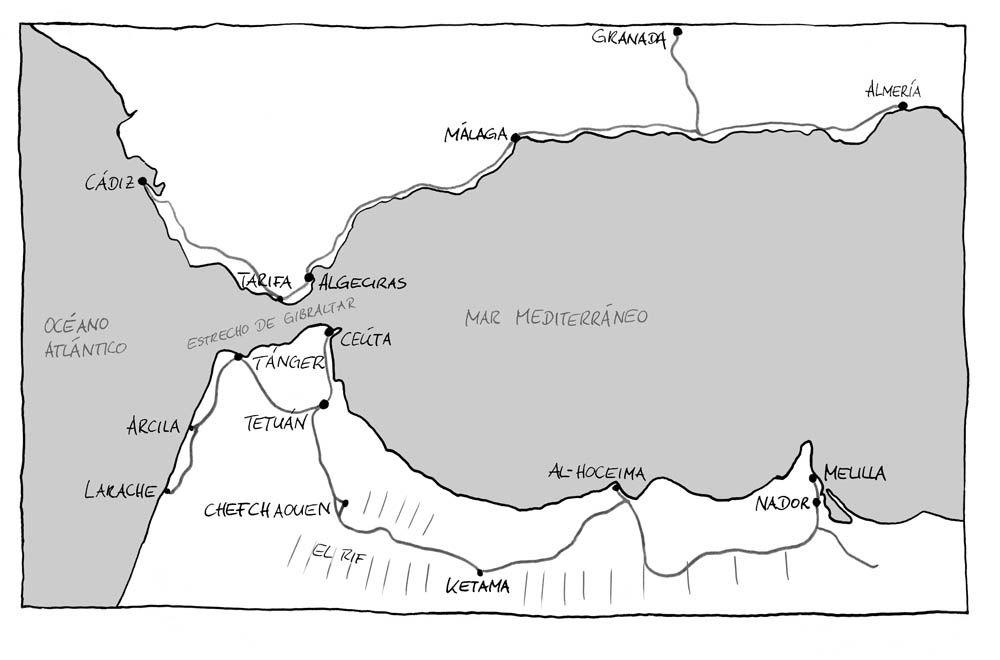 El estrecho de Gibraltar, dibujado por Karin Tauer